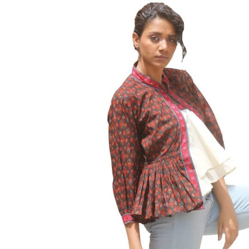 Kaala Teeka | Women Jacket with Tube Dark Brown Set of 2