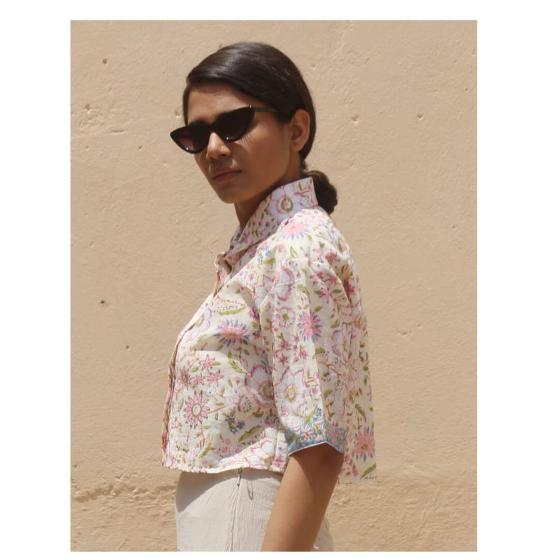 Kaala Teeka | Women Off-white Crop Shirt