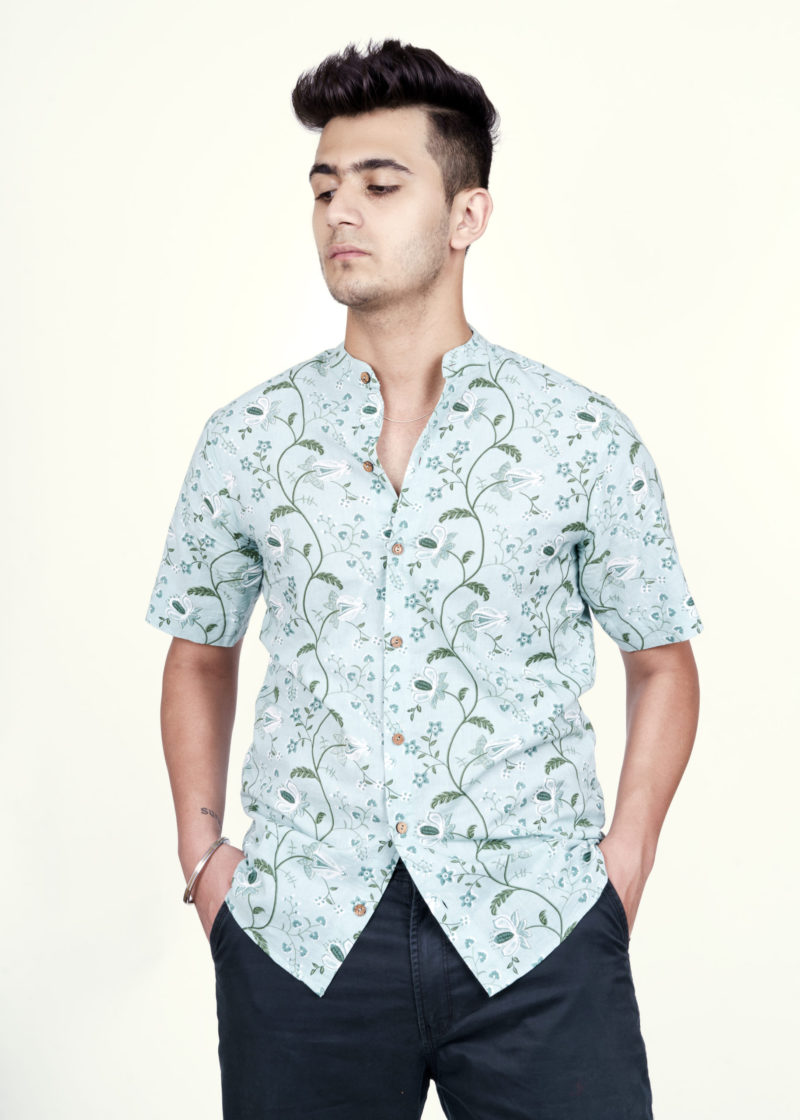 Kaala Teeka | Men's Aqua Blue Mandarin Collar Cotton Printed Shirt (Slim Fit)