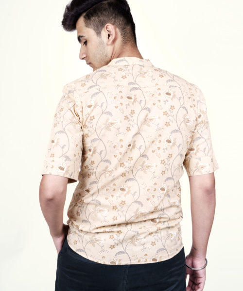Kaala Teeka | Men's Beige Mandarin Collar Cotton Printed Shirt (Slim Fit)