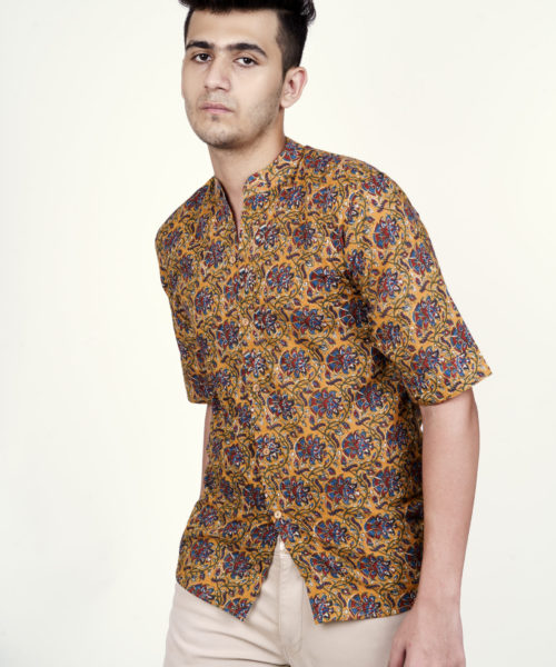Kaala Teeka | Men's Mustard Mandarin Collar Cotton Printed Shirt