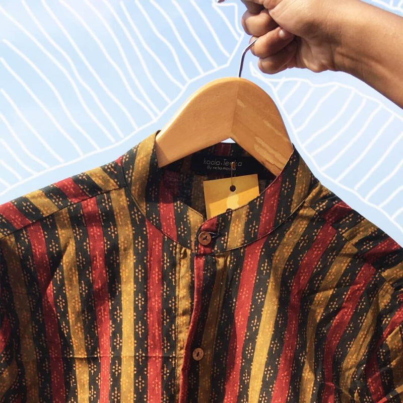 Kaala Teeka | Men's Stripe Full Sleeve Mandarin Collar Cotton Printed Shirt
