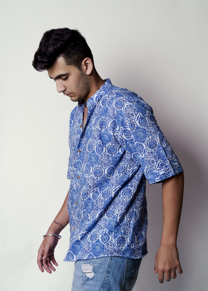 Kaala Teeka | Men's Indigo Blue Cotton Printed Shirt