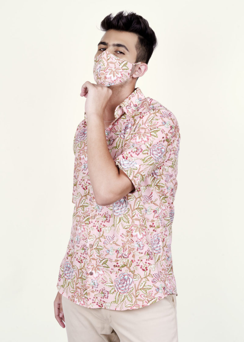 Kaala Teeka | Men's Cloud Pink Cotton Printed Shirt