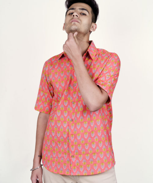 Kaala Teeka | Men's Neon Orange Cotton Printed Shirt