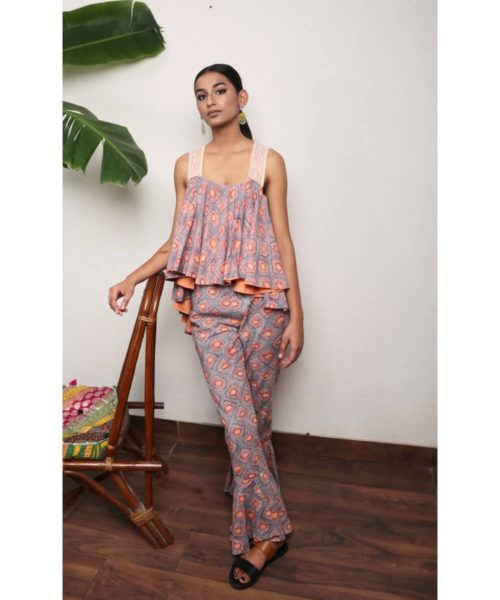 Kaala Teeka   Frilled High Low Style Pants with peach lining detail