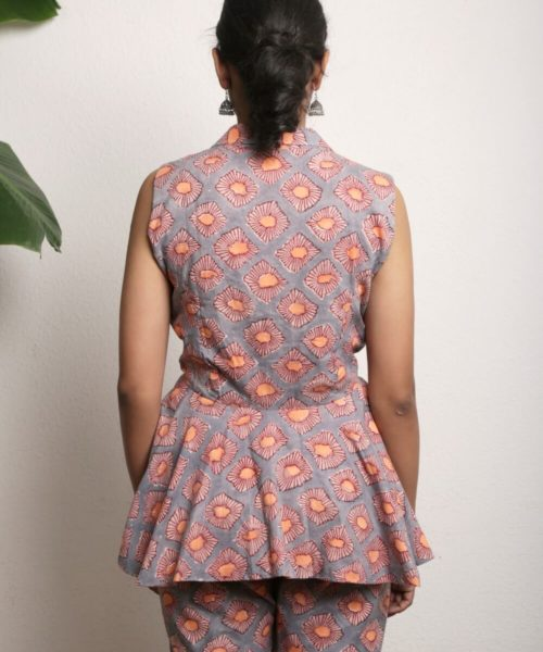 Kaala Teeka | Half Sleeve Jacket with peach Lining