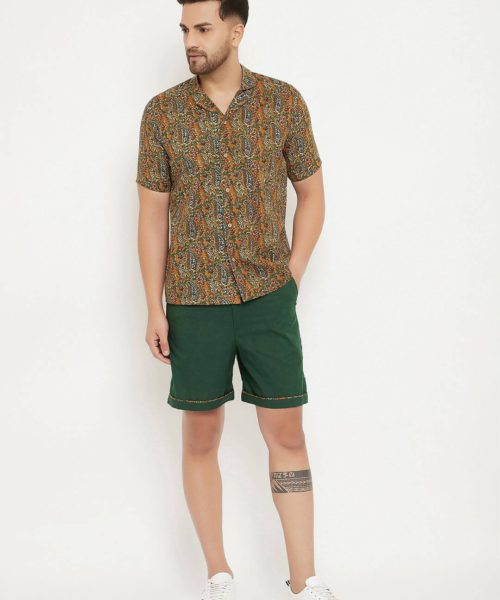Kaala Teeka | Printed Cotton Shirt & Olive Printed Pocket Cotton Shorts