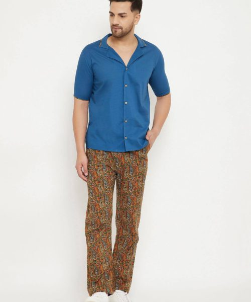 Kaala Teeka | Blue Cotton Shirt & Printed Cotton Pants