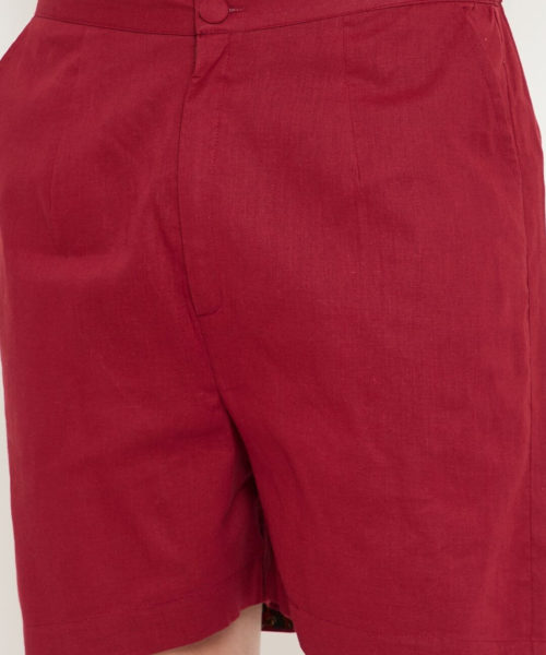 Kaala Teeka | Maroon Cotton Shorts