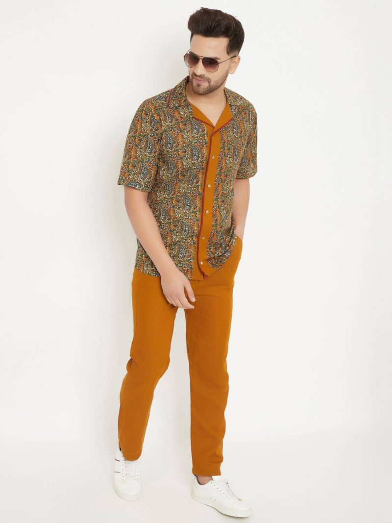 Kaala Teeka | Brown Red Detailed Shirt & Brown Cotton Pants