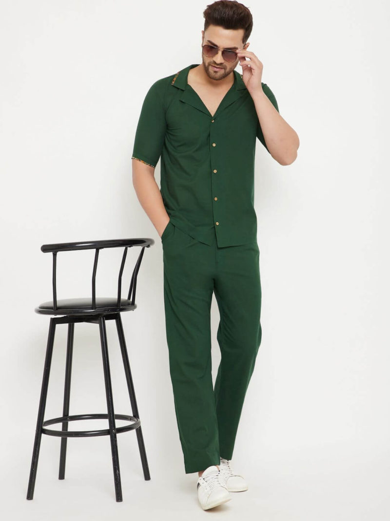 Kaala Teeka | Olive Green Cotton Shirt & Olive Green Cotton Pants