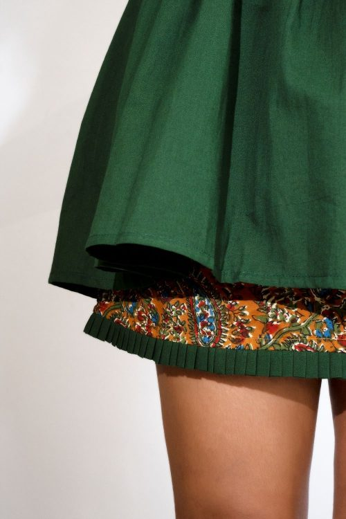 Kaala Teeka | The Two Piece Olive Frock Top with Printed Skirt (set of 3)
